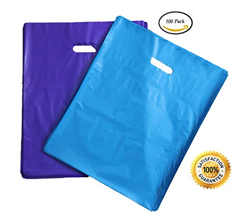 100 Durable 12x15 Merchandise bags Pick ur Color Die Cut Handle-Glossy finish-Anti-Strech. For Retail store, Party favors, Handouts and more by Best Choice (Purple&Teal (Blue Color Finish)