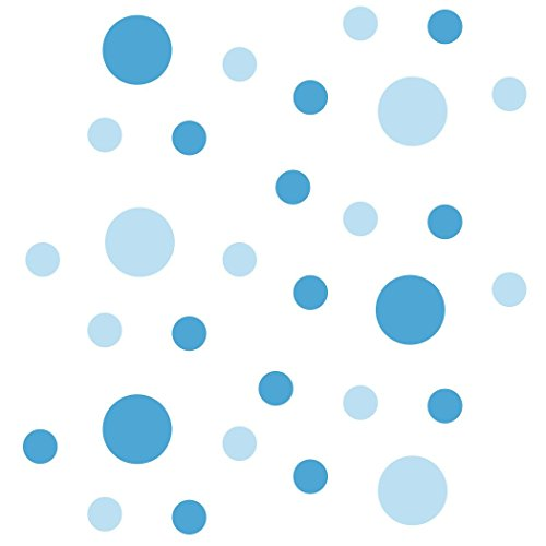 Set of 30 - Circles Polka Dots Vinyl Wall Graphic Decals Stickers (Baby Blue/Ice Blue)