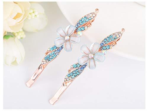 Sell Hair Ornaments Women Girls Fashion Rhinestone Crystal Flower Hairpin Hair Clips Gold Tone Hair Accessories blue