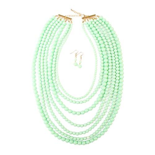 RIAH FASHION Multi Layer Beaded Bubble Statement Necklace - Round Ball Chunky Drape Bib Collar 7 Strands (Light Mint)