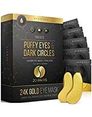24K Gold Eye Mask– Puffy Eyes and Dark Circles Treatments – Look Less Tired and Reduce Wrinkles and Fine Lines Undereye, Revitalize and Refresh Your Skin