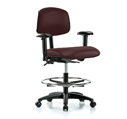Perch Rolling Multi Task Swivel Chair with Foot Ring for Hardwood or Tile Floors, Workbench Height, Burgundy Fabric (Task Multi Burgundy Chair)