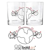 BOLDLOFT Love Has No Distance His and Hers Glasses-Long Distance Relationships Gifts for Boyfriend Girlfriend,Thinking of You Gifts,Long Distance Couples Gifts for Christmas Anniversary Valentines Day