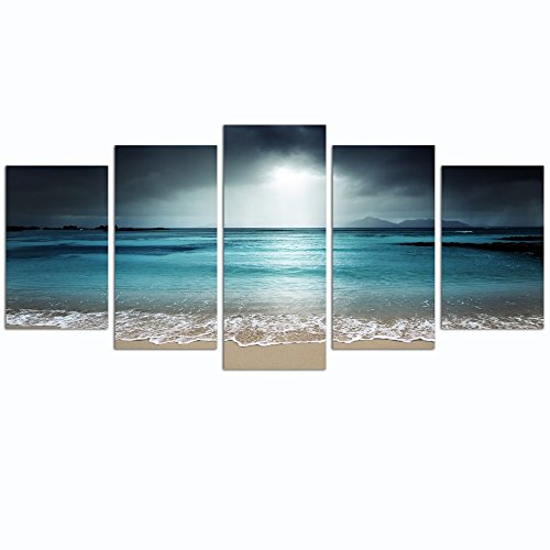 Live Art Decor- Peaceful Relaxed Sea Picture Canvas Print Art with Frame Modern Living Room Decor Seascape Beach Wall Art Easy Hanging