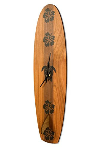 Cardboard Safari | Baltic Birch Vintage Inspired Surfboard Wall Clock | Made in The USA (Long Board)