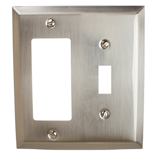 GlideRite Hardware Wall Plate Cover for Toggle Light Switch and Decora Rocker Combination – Steel 2-Gang Classic Square Beveled Receptacle for Kitchen/Bathroom (Toggle/Rocker, Brushed Nickel)