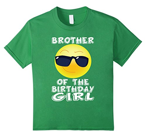 Kids Brother Of The Birthday Girl Emoji T-shirt for Bday Party 6 Grass