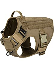 """ICEFANG Tactical Dog Harness,2X Metal Buckle,Working Dog MOLLE Vest with Handle,No Pulling Front Leash Clip,Hook and Loop Panel for ID Patch (L (Chest 28""""-35""""), Coyote Brown)"""