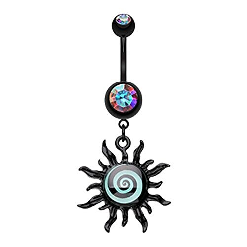 Blackline Glow in The Dark Spiral Sun WildKlass Belly Button Ring