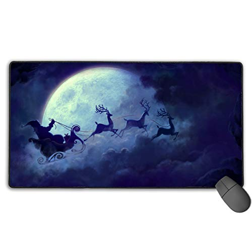 Extended Gaming Mouse Pad, Anti-Slip Rectangle Rubber Mousepad, 29.53 X 15.75 Inch XXL Computer Mat with Santa in His Sleigh