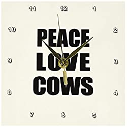 3dRose dc_184853_1 Peace Love and Cows-Things That Make Me Happy-Animal Lover Gift-Desk Clock, 6 by 6-Inch