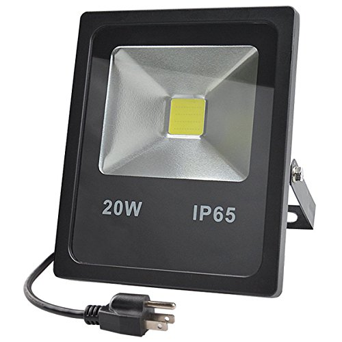 GLW 20W LED Flood Lights,100W Halogen Bulb Equivalent,IP65 Waterproof Daylight White Outdoor Work Light,1800lm,6000K,110V Floodlight with US 3-plug