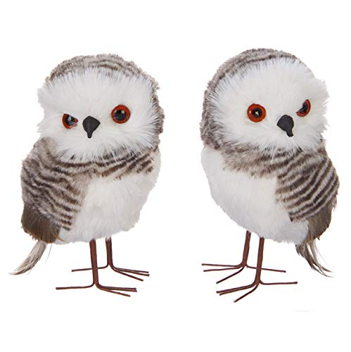 The Bridge Collection Furry Owl Ornaments, Set of 2 Assorted (Owl Feathered Ornaments White)