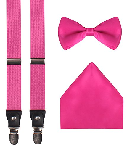 WDSKY mens hot pink suspenders mens suspenders and bow tie set Hot Pink (Ties Hot Pink compare prices)