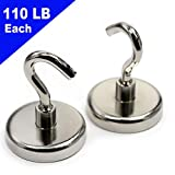 CMS Magnetics Hooks - Super Strong Neodymium Rare Earth Magnet Hooks for Home Kitchen Garage Sheds Office School Classroom & Shops - 110 LB Holding Power Each - Set of Two (110 LB Silver)