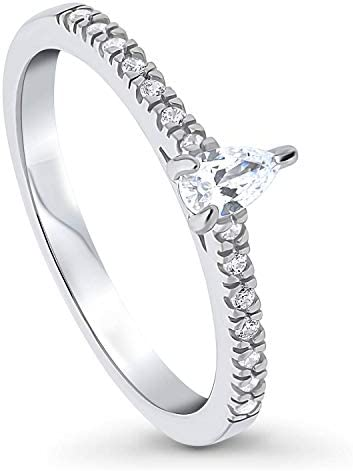 BERRICLE Rhodium Plated Sterling Silver Solitaire Promise Engagement Ring Made with Swarovski Zirconia Pear Cut 0.99 CTW