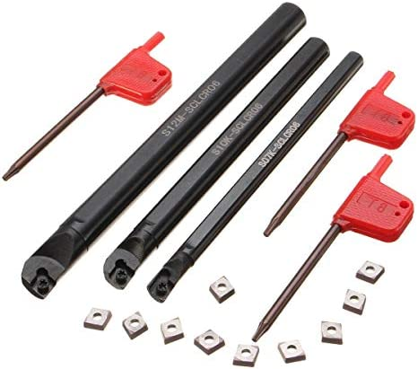 Qualitäts-CNC-Drehmaschine Werkzeug-Zubehör SCLCR Lathe Bohrstange Drehwerkzeughalter mit 10 Stück CCMT0602 Insert 7x125mm 10x125mm 12x150mm
