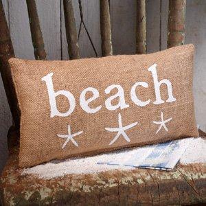 Small Burlap Beach/Starfish Pillow (12x6'')