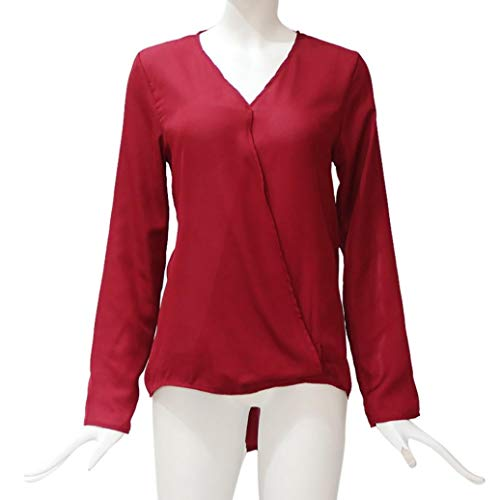 Casual Con In Moda Scollo Camicia Autunno Da Rosso Alla Abito saldi A Lunghe Maniche V Chiffon Donna tqYvxw