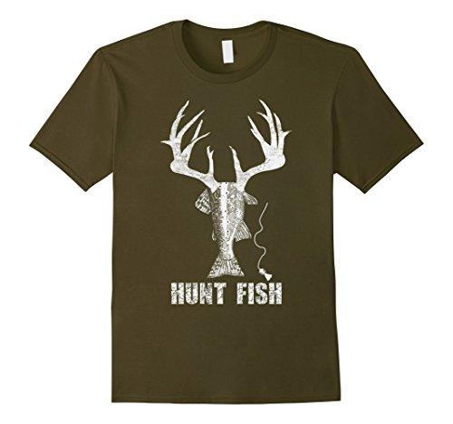 Men's HUNT FISH T Shirt XL Olive