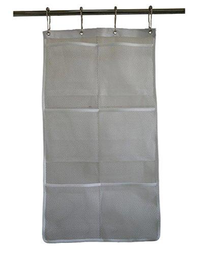 Hanging mesh bath shower caddy organizer with 6 clear - Anna s linens bathroom accessories ...