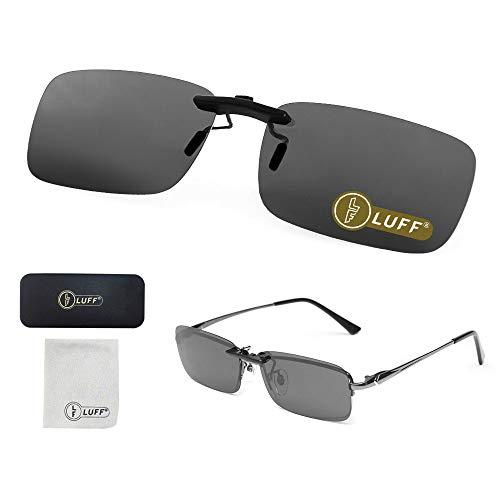 LUFF Polarized Unisex Clip on Sunglasses for Prescription Eyeglasses-Good Clip Style Sunglasses for Myopia Glasses Outdoor/Driving/Fishing (Black) ... (Brille Clip-on Shades)
