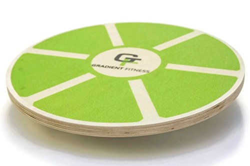 Gradient Fitness Balance Board, Wooden Wobble Board, Circular Non-slip Physical Therapy Exercise Tool (Green)
