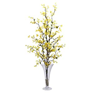 Nearly Natural 1254 Forsythia with Vase Silk Flower Arrangement, Yellow 118