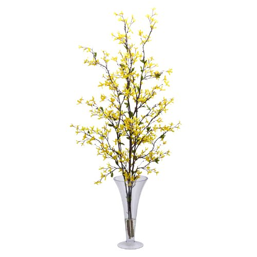 Nearly Natural 1254 Forsythia with Vase Silk Flower Arrangement, Yellow by Nearly Natural