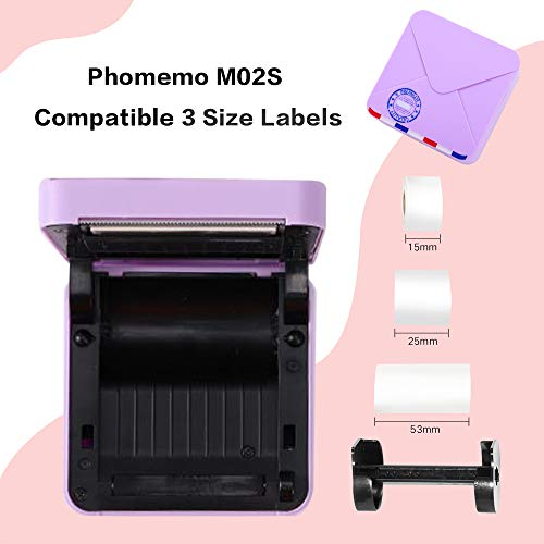 Phomemo M02S Mini Thermal Printer- 300dpi HD Bluetooth Mobile Printer Compatible with iOS and Android, Work with 3 Size Papers, Photo Printer for Plan Journal, Travel, DIY Cards, Gift, Purple