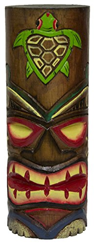 World Shells Hand Carved Hand Painted 10 Inch Large Tiki Totem Pole - Turtle