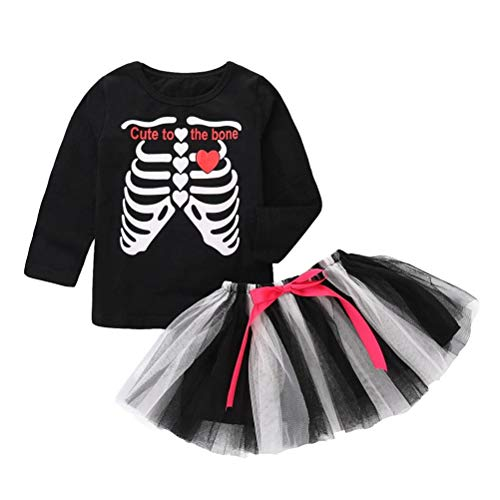 Toddler Kids Baby Girls 2Pcs Clothes Sets for 12 Months-5T,Long Sleeve Halloween Skeleton Letter Print Top Bow Skirt Outfits (3T-4T, Black)
