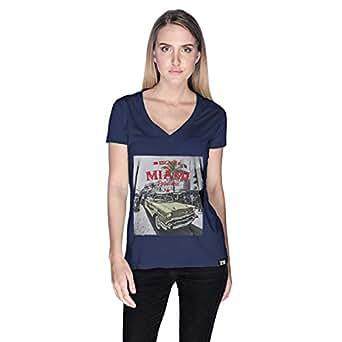 Creo Miami Car Beach T-Shirt For Women - L, Navy Blue