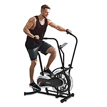 Image of ATIVAFIT Fan Bike Exercise Upright AirBike Indoor Cycling Fitness Bike Stationary Bicycle with Air Resistance System Grey Exercise Bikes