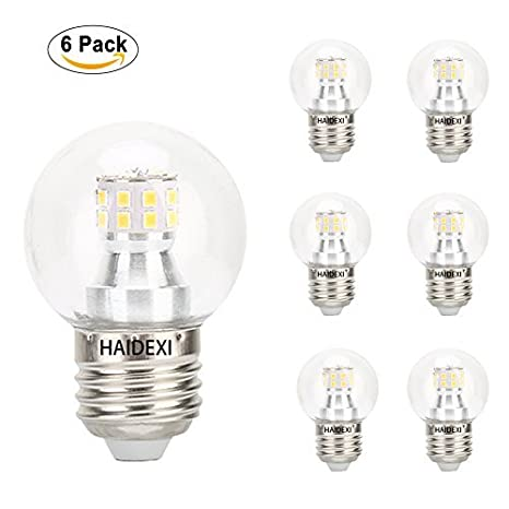 Bombillas LED haidexi 6 unidades 5 W G25 E26 bombillas LED, Equivalente a bombilla incandescente de ...