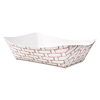 Boardwalk 30LAG300 Paper Food Baskets, 3lb Capacity, Red/White (Case of 500)