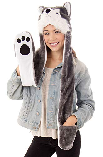Simplicity Winter Animal Hats Caps Full Hoodie Grey Dog Caps with Scarf -