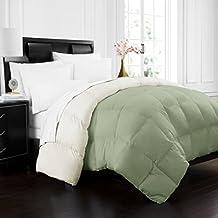 Beckham Hotel Collection 1700 Series Luxury Goose Down Alternative Reversible Comforter - Premium Hypoallergenic - All Season - Duvet - King/Cal King - Sage/Ivory