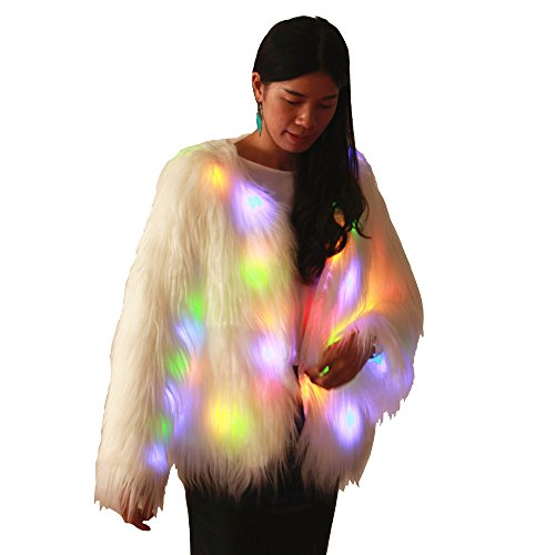 Fur Coat Costumes Halloween (M MAYEVER Plus Size Fluffy Faux Fur Warm Coat Jacket Women Long Sleeve Light Up Outerwear Shiny Led Halloween Carnival Party Costume (2XL=US XL))