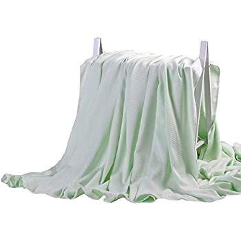LAGHCAT Air Condition Cooling Throw Blankets - Lightweight Bamboo Fiber Knitted Throws Solid Summer Thin Blanket for Couch,Sofa,Bed. Sleeping Cover for Adults Chidren Kids Green - 79 x 90 Inch