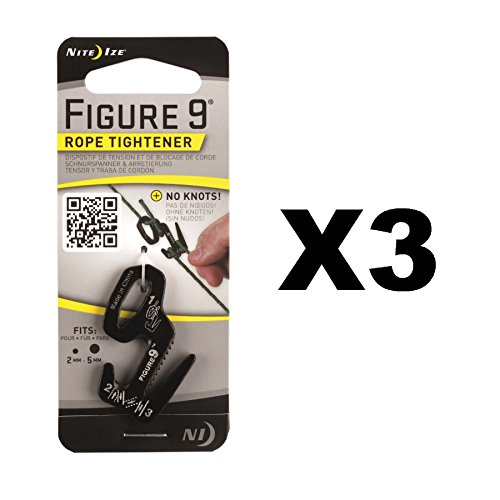 Nite Ize Figure 9 Rope Tightener Small Black Aluminum Tie Down Tool - Tightener Rope Tool 9 Figure