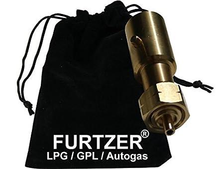 Furtzer LPG GPL Autogas Tankadapter EURONOOZLE//BAJONETT Gasflaschen Propangas lang Adapter mit Stoffbeutel by