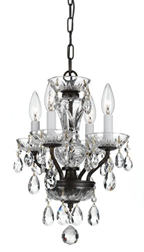 Mini Chandeliers 4 Light With Steel Drum Clear Hand Cut English Bronze size 11 in 240 Watts – World of Lighting