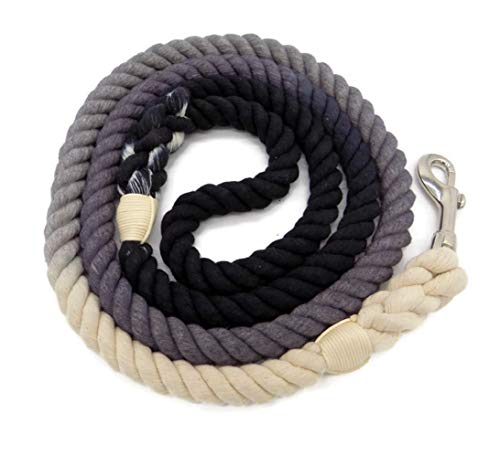Sier 5ft Ombre Rope Dog Leash Braided Cotton Heavy Duty Strong Durable Multi-Colored (Black Grey)