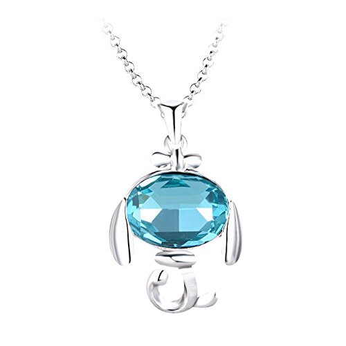 The Starry Night Blue Crystal Vivacious Dog Pendant Silver Necklace Suitable Fashion Females (Tangle Twine)