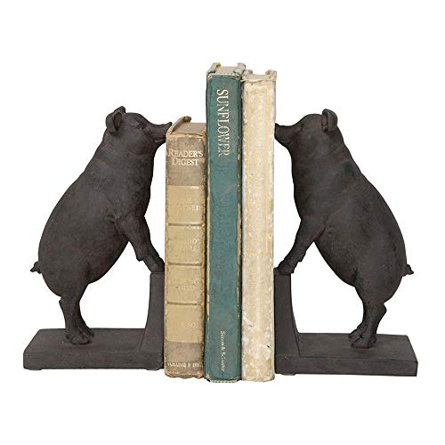 Creative Co-Op Black Resin Pig Shaped Bookends (Set of 2 Pieces)