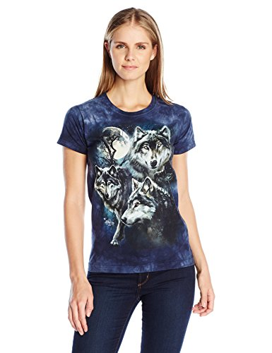 The Mountain Junior's Moon Wolves Collage Graphic T-Shirt, Blue, (Collage Juniors T-shirt)