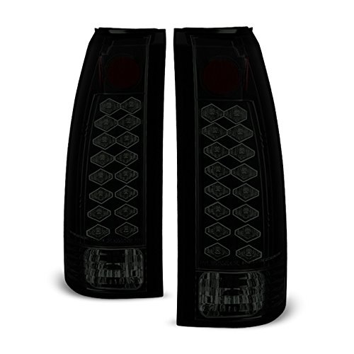 (For 88-98 Chevy C/K Series Pickup Truck GMC Sierra Rear Black Smoke LED Tail Lights Brake Lamps)