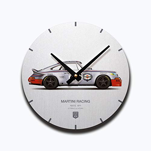 (GarageProject101 1973 Martini Racing (Le Mans 24 Hours) Illustration Wall Clock)