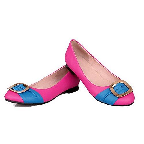 Allhqfashion Donna Colore Assortito Pu Senza Tacco Tondo Punta Chiusa Tira Su Scarpe Flat-scarpe Pesca